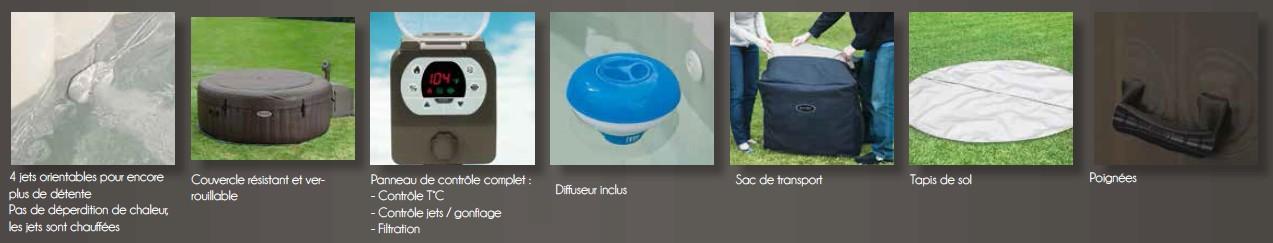 Spa gonflable intex pure spa jets 4 places banquette offerte - Spa gonflable consommation electrique ...
