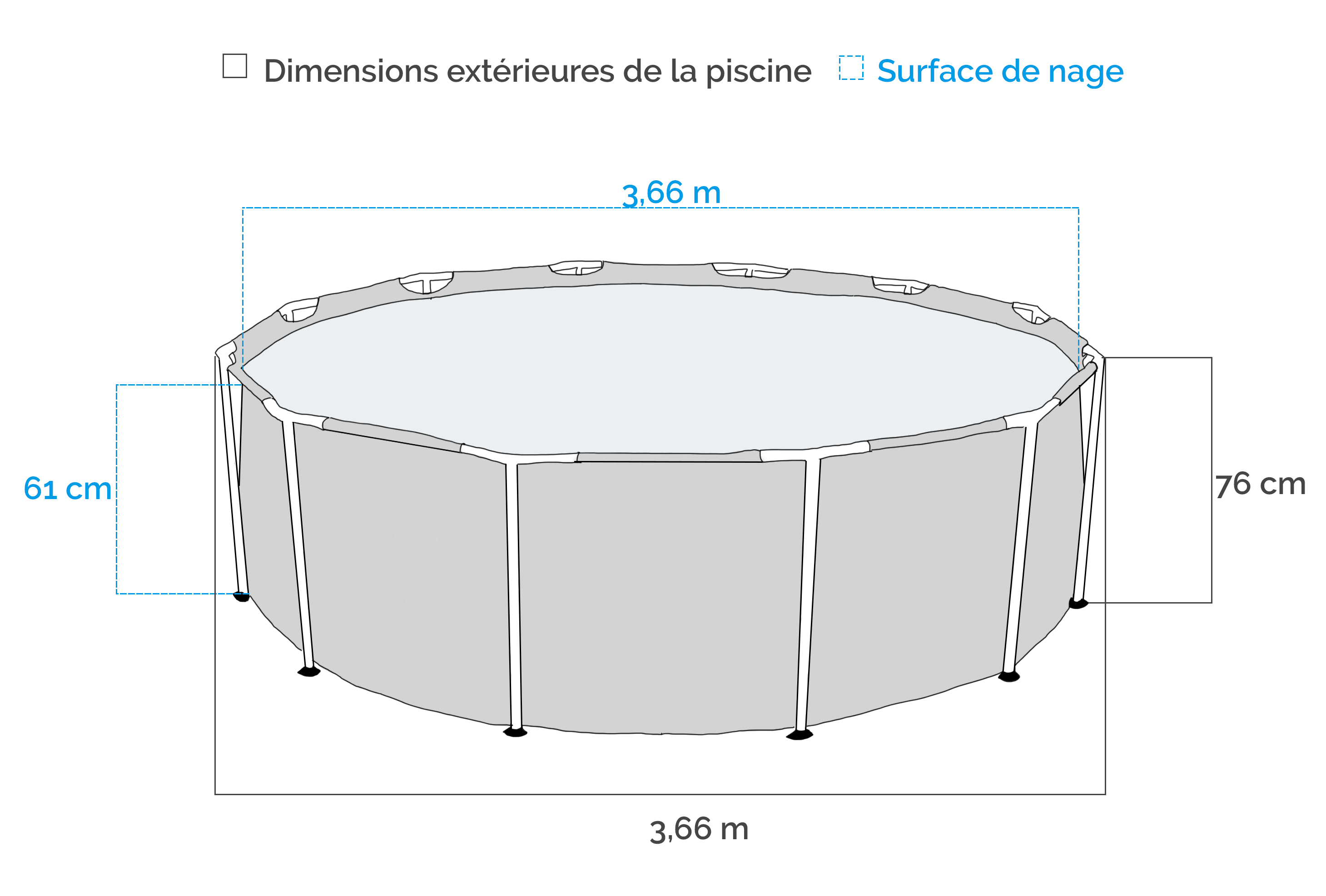 Piscine tubulaire intex metal frame x avec for Piscine 5 x 3