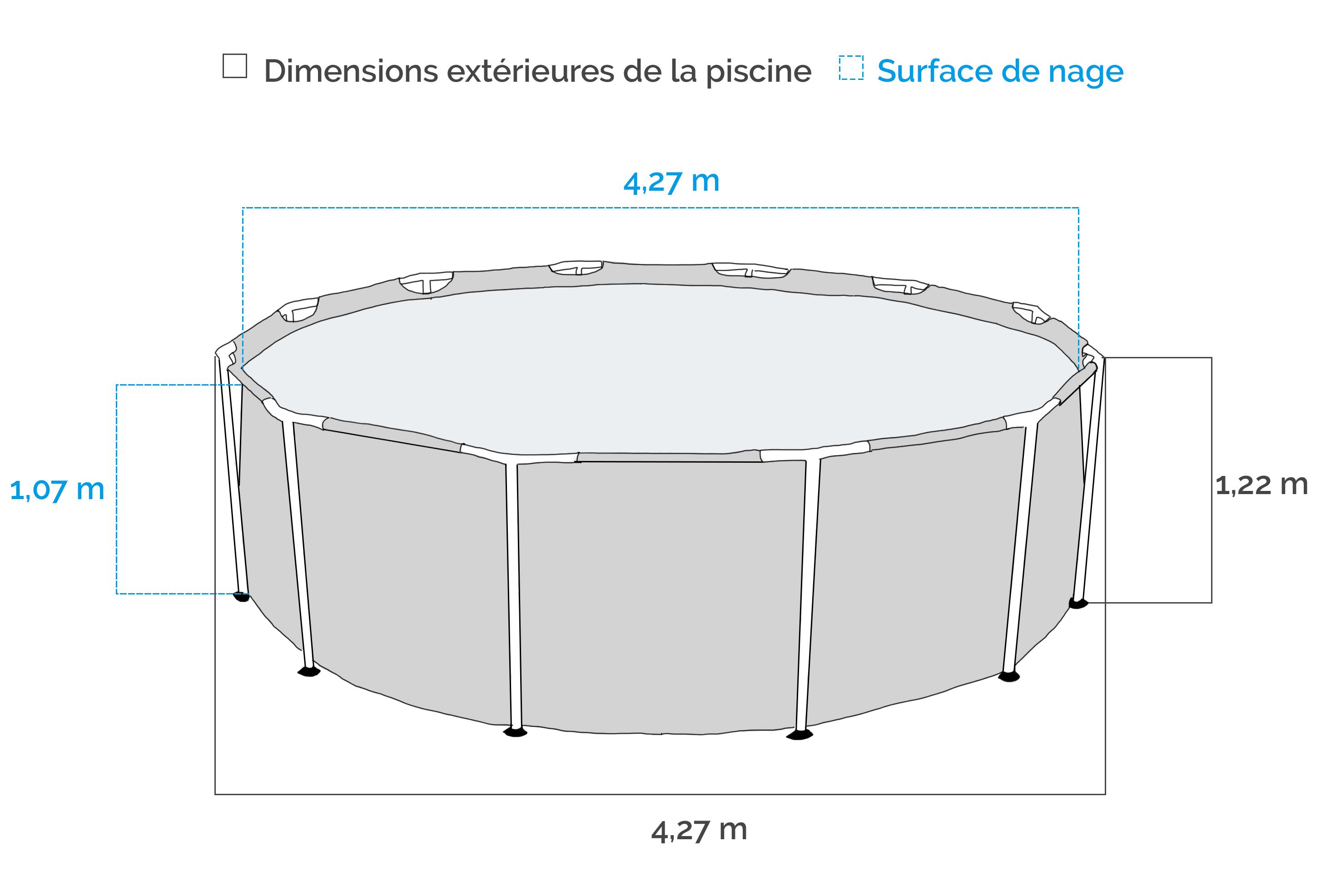 Piscine tubulaire intex 4 27 x 1 07 m de intex for Carrefour piscine tubulaire