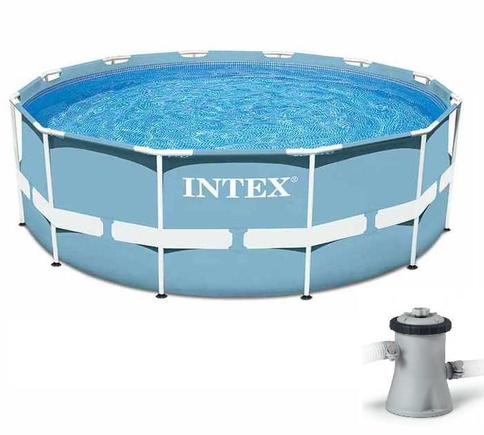 Piscine intex prism frame 3 66m x 1 22m piscine for Intex piscine tubulaire ronde