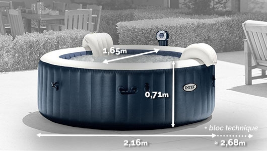 Dimensions du 28410EX Spa gonflable Intex Pure Spa Plus Bulles 6 places Rond