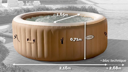 Dimensions Spa gonflable Intex PureSpa Sahara 6 places