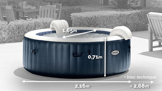 Dimensions du 28432EX Spa gonflable Intex PureSpa Blue Navy 6 places