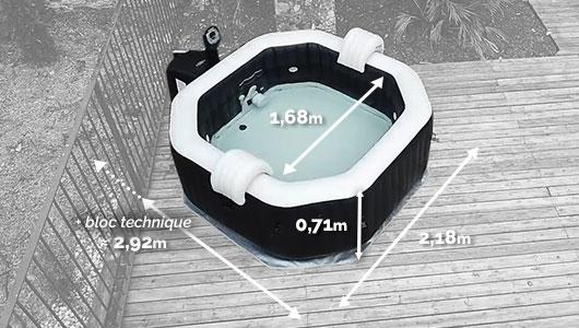 Dimensions du Spa gonflable Intex Pure Spa Jets et Bulles 6 places