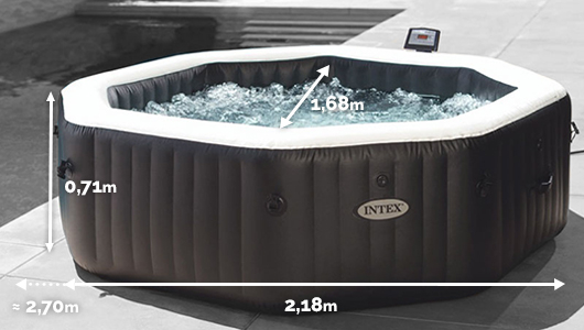 Dimensions du Spa gonflable Intex Pure Spa Jets et Bulles 6 places