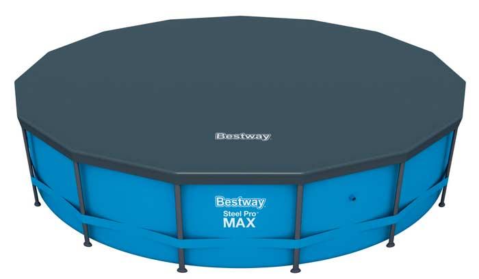 Kit piscine ronde tubulaire Bestway Steel Pro Max Bleue bâche