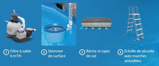Accessoires livrés avec la Piscine tubulaire Intex Ultra Frame 4.27 x 1.22 m