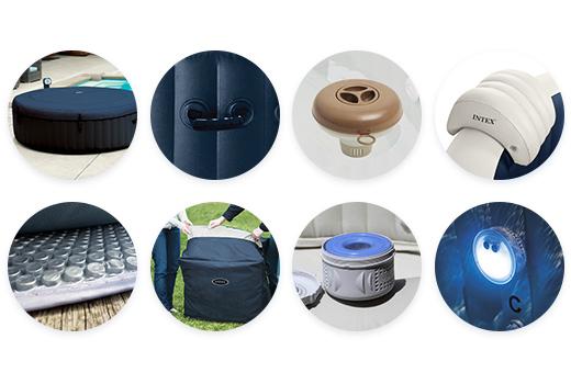 Les accessoires livrés avec ce spa gonflable Intex 6 places