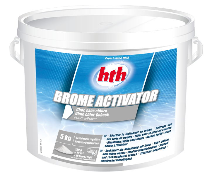 Hth brome activator d sinfection choc sans chlore poudre 5k for Chlore hth piscine