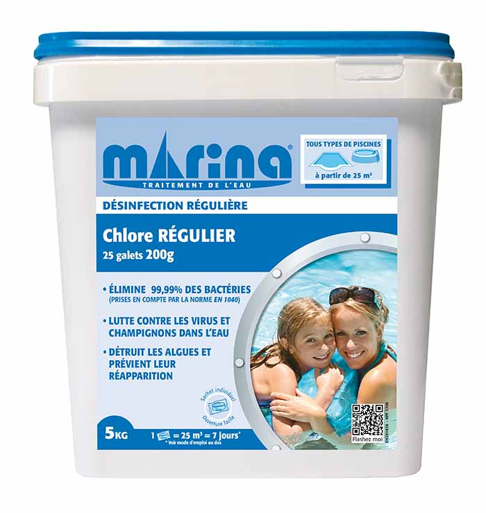 Chlore Régulier en Galets 200 g pour piscine seau de 5 kg Marina