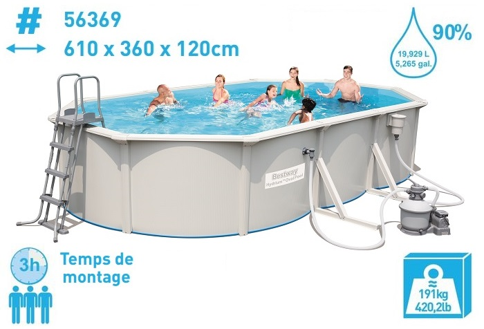 piscine tubulaire ovale 610 x 360 x 122 cm