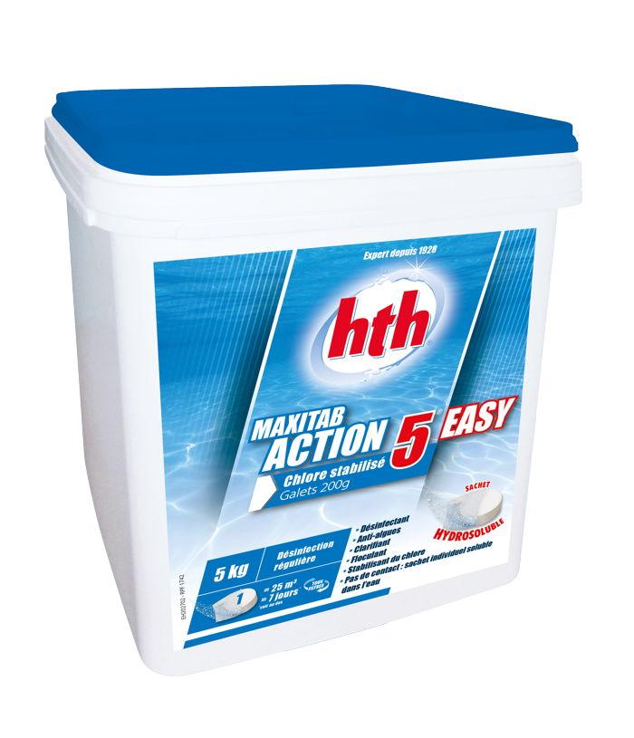 Hth maxitab action 5 easy 5kg chlore stabilis galet 200g for Dosage sulfate de cuivre piscine