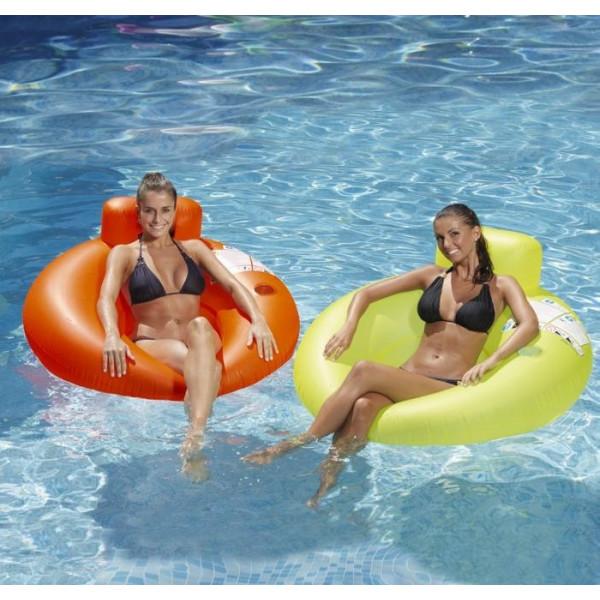 Fauteuil bouée gonflable fluo Kerlis pour piscine