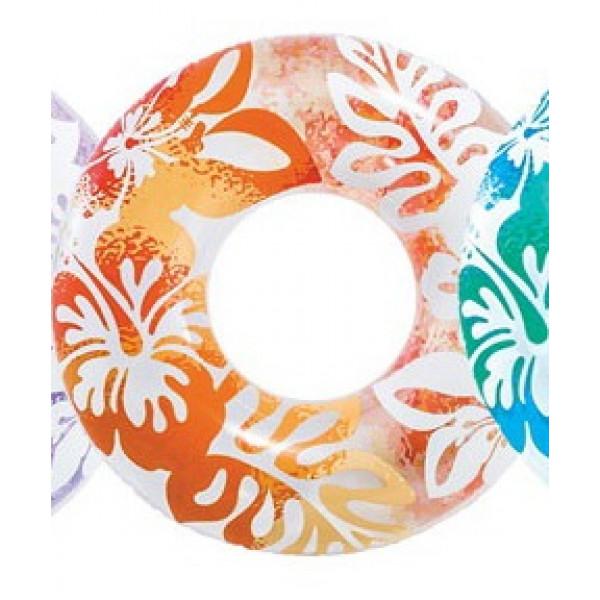 Bouée gonflable géante Intex Aloha-Fleurs oranges