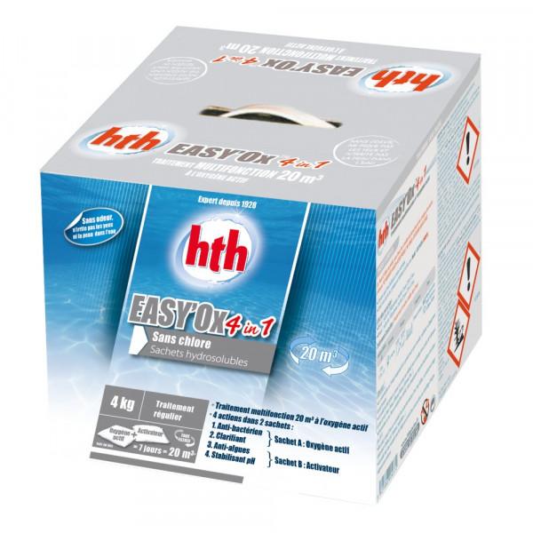 Kit de traitement multifonction à l'oxygène actif HTH Easy'Ox 4 en 1 pour bassin jusqu'à 20 m³