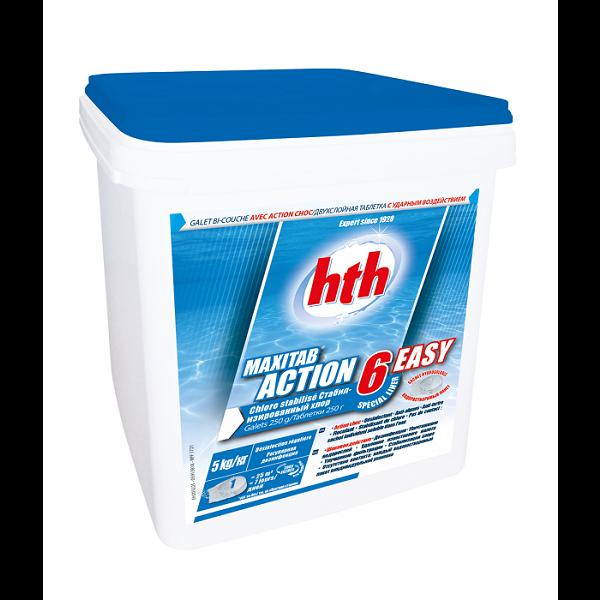 HTH Maxitab Action 6 Easy 5kg - Chlore stabilisé multifonction en galet