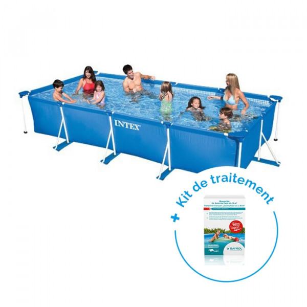 Pack Piscine tubulaire Intex MetalFrame Junior 4,50 x 2,20 x 0,84 m + Traitement pour piscines < 10 m³
