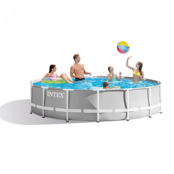 Piscine tubulaire ronde Intex Prism Frame 4,57 x 1,22 m - Coloris Gris