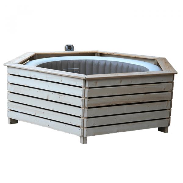 Habillage en bois pour spa gonflable Aquazendo