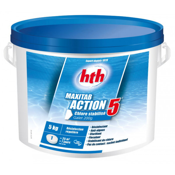 HTH Maxitab Action 5 - Chlore stabilisé multifonction galet 200g