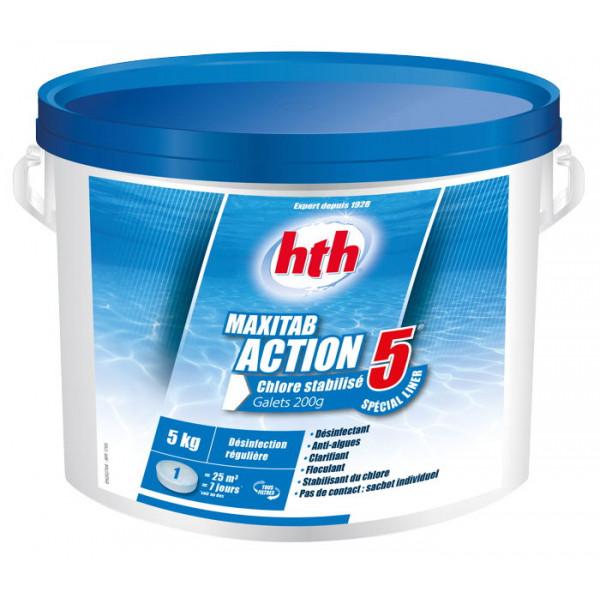HTH Maxitab Action 5 spécial liner 5kg - Chlore stabilisé multifonction galet 200g
