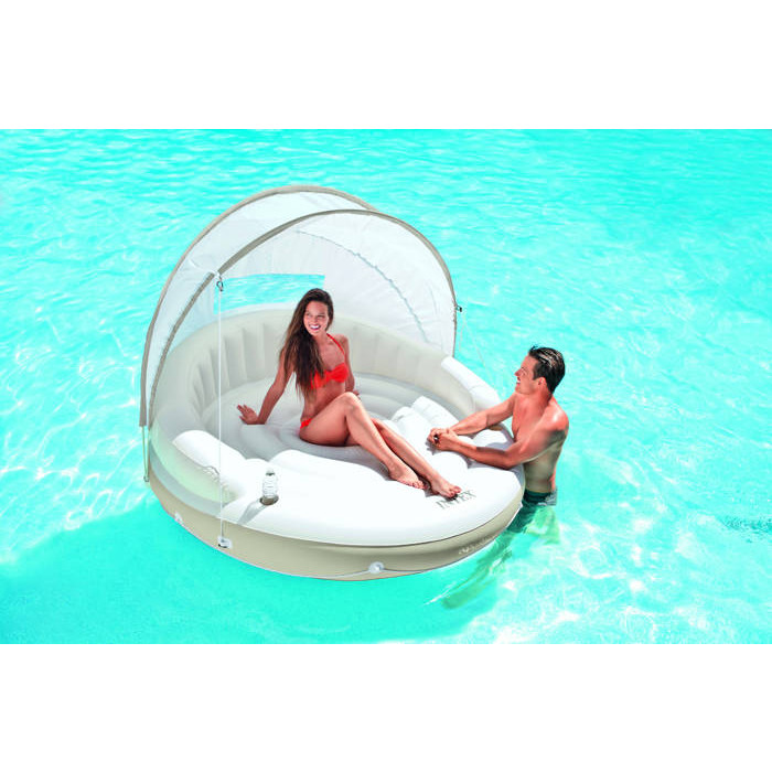Matelas gonflable de piscine lounge intex canopy island for Piscine gonflable intex
