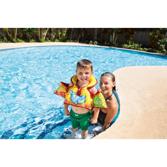 Combinaison gilet et brassards enfant pour piscine intex for Brassards piscine