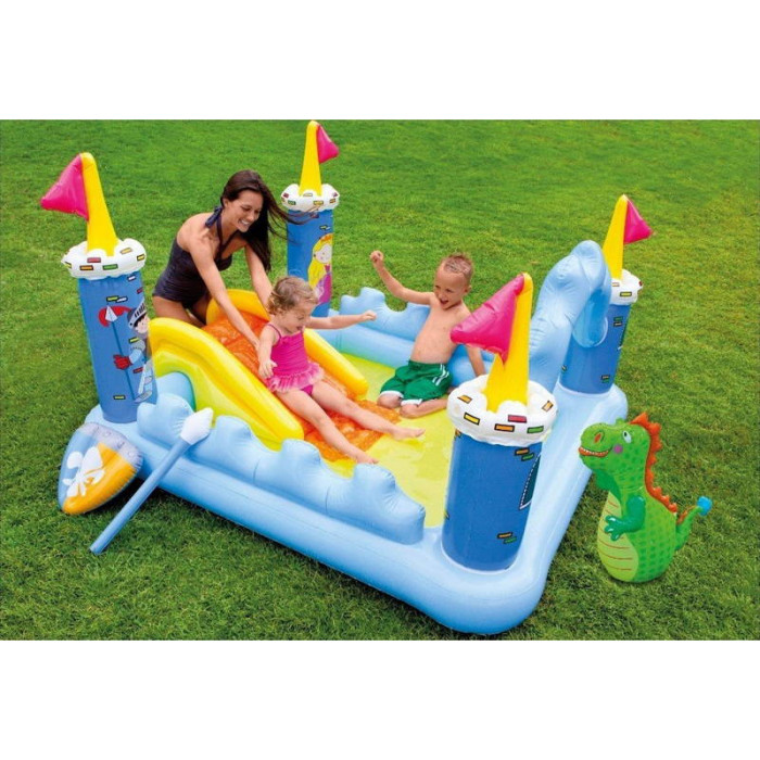 Aire de jeu gonflable ch teau m di val intex for Piscine a balle gonflable