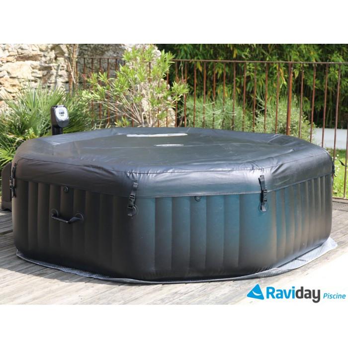 b che pour spa octogonal noir 4 places intex. Black Bedroom Furniture Sets. Home Design Ideas