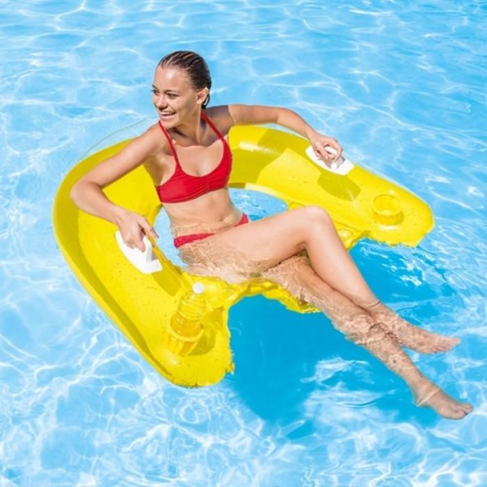 fauteuil de piscine gonflable semi immerg intex sit 39 n float. Black Bedroom Furniture Sets. Home Design Ideas