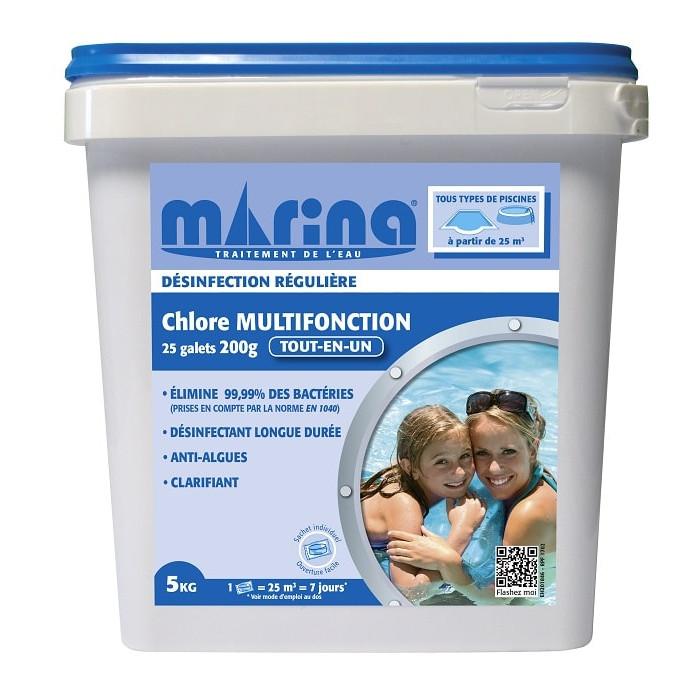 Galets 200g de chlore marina pour piscine 25m3 5 kg - Pastille chlore piscine gonflable ...