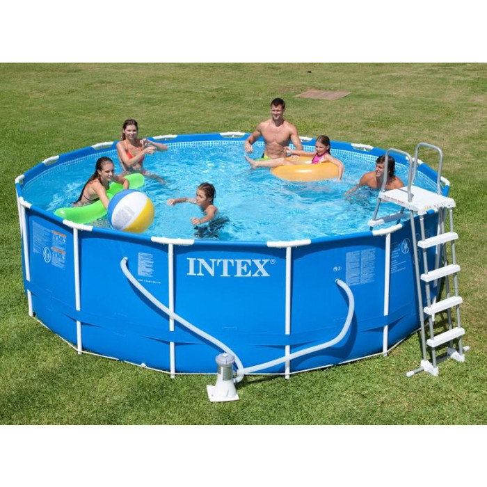 Kit piscine tubulaire intex metal frame 457 x 122 chez for Piscine intex