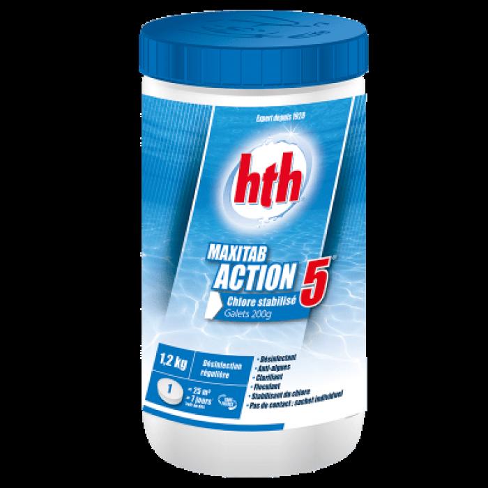 HTH Maxitab Action 5 - Chlore stabilisé multifonction galet 200g - 1,2 kg