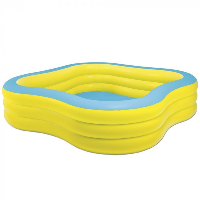 Piscine gonflable carr intex wave swim center pool for Achat piscine intex