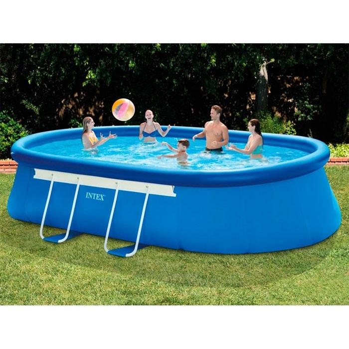 Piscine autoport e intex ellipse 5 49 x 3 05 x 1 07 m for Bache piscine intex 5 49