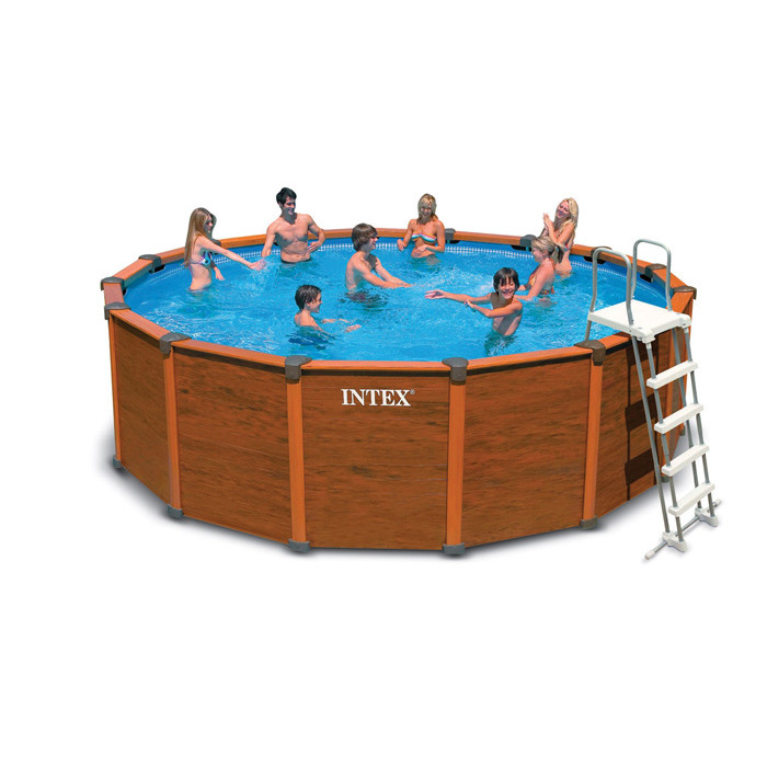 Piscine intex sequoia spirit 4 78m aspect bois for Piscine intex graphite