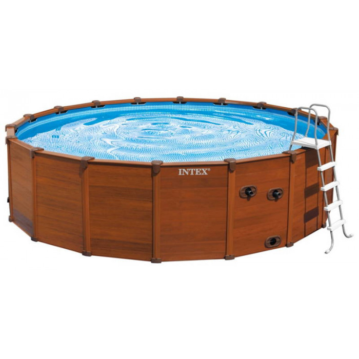 Piscine intex sequoia spirit 5m69 x 1m35 aspect bois chez raviday piscine for Piscine autoportante bois