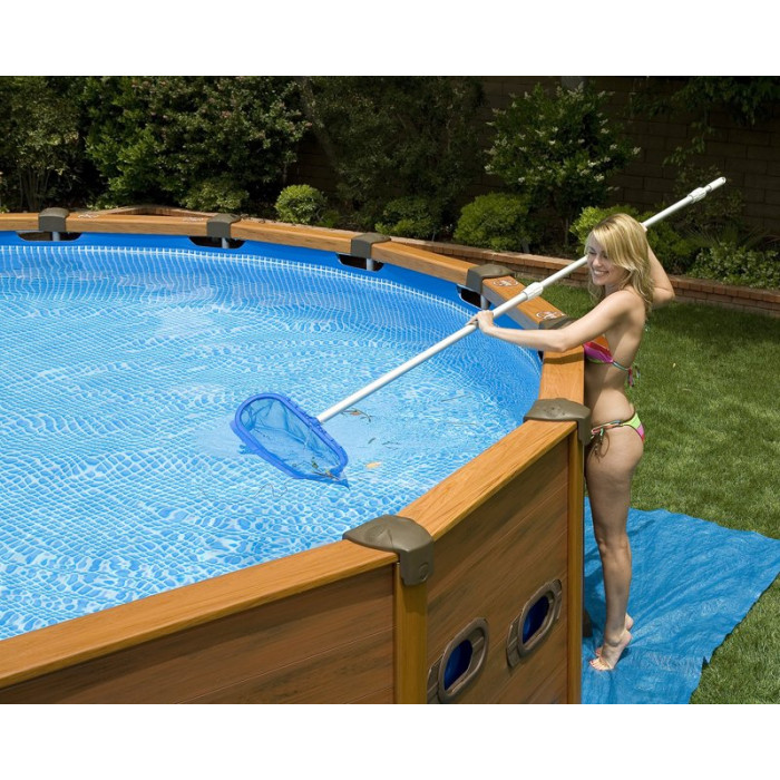 Piscine intex sequoia spirit 5m69 x 1m35 aspect bois chez for Piscine autoportee bois