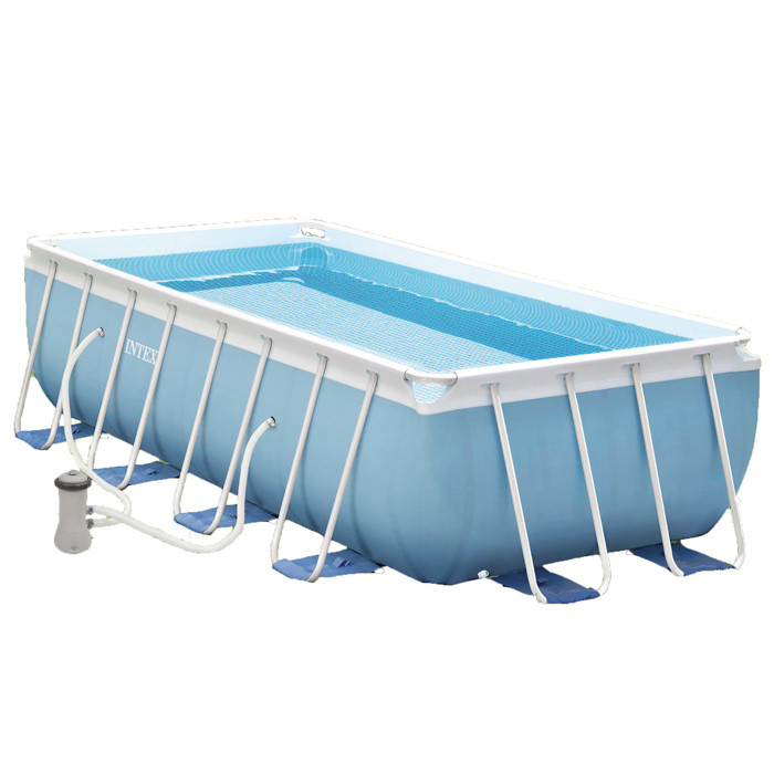 Piscine tubulaire rectangulaire intex prism frame 4m x 2m x 1m for Piscine hors sol 4m de diametre