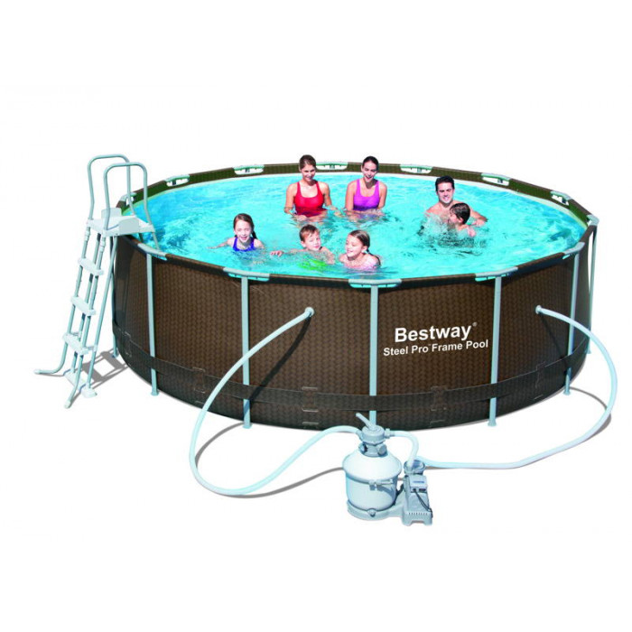 Piscine bestway steel pro frame imitation bois tress for Piscine tubulaire