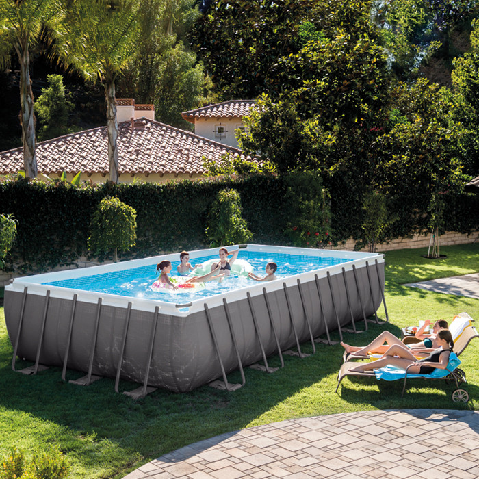 Piscine tubulaire Intex Ultra Silver 7.32 x 3.66 x 1.32 m - RAVIDAY