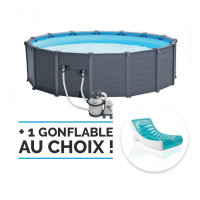 Piscine tubulaire ronde Intex Graphite 4.78 x 1.24 m