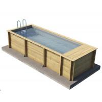 Piscine Pool'n Box Procopi - BWT myPOOL en bois avec coffre et filtration intégré 5 x 2 m