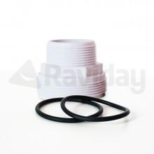 Raccord fileté blanc + 2 joints pour liaison vanne/tuyau Poolfilter 400-500-600