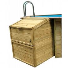 Coffre de filtration en bois pour piscine GRE