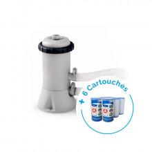 Pack Filtre épurateur de piscine INTEX 2m³/h + 6 cartouches de filtration type A