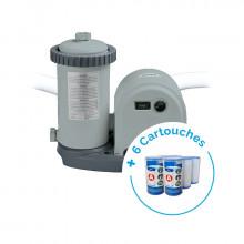 Pack Filtre épurateur de piscine INTEX 5.7m³/h + 6 cartouches type A Intex