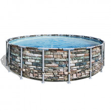 Piscine tubulaire Bestway Power Steel Stone ronde 5.48 x 1.32 m