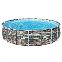 Piscine tubulaire Bestway Power Steel Stone ronde 6.10 x 1.32 m
