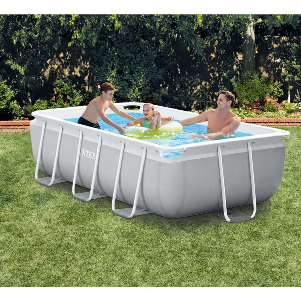 Piscine tubulaire rectangulaire Intex Prism Frame 3 x 1,75 x 0,8 m - Coloris Gris